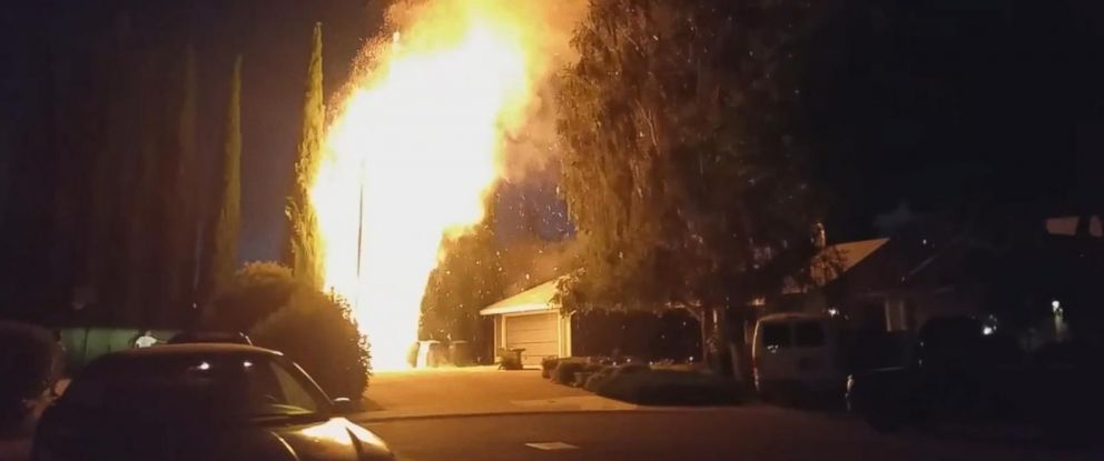 PHOTO: Screenshot from a video posted on YouTube on July 3, 2015 capturing the scene in Sacramento, California, after fireworks were thrown in the air and landed on a juniper tree.