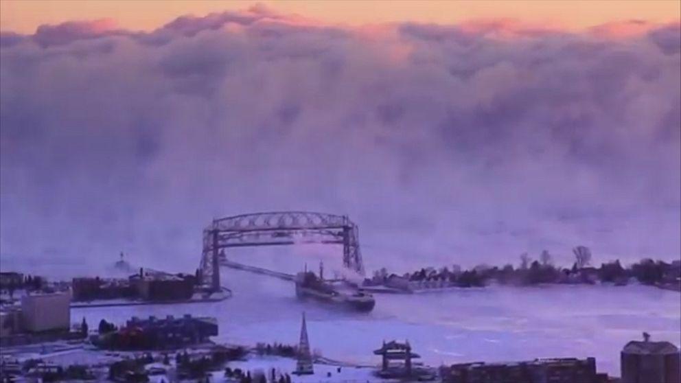 Massive Wall of Sea Smoke Over Lake Superior Video - ABC News | title