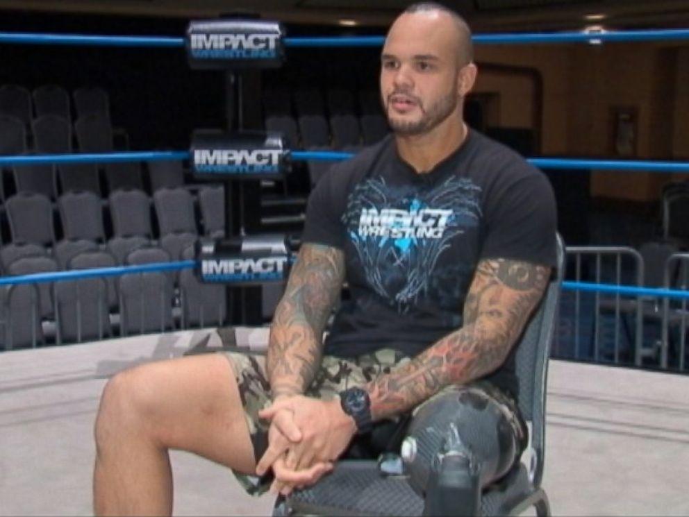 PHOTO: Wrestler Chris Melendez lost one leg when he was deployed in Iraq