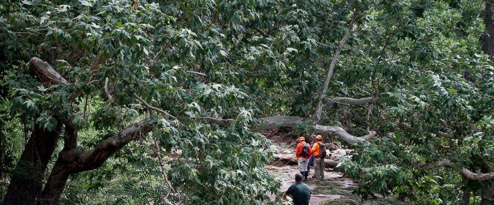 Tonto Search and Rescue volunteers search for missing swimmers near the Water Wheel Campground on Sunday morning, July 16, 2017, in the Tonto National Forest, Ariz., following Saturdays deadly flash-flooding at a normally tranquil swimming area in t