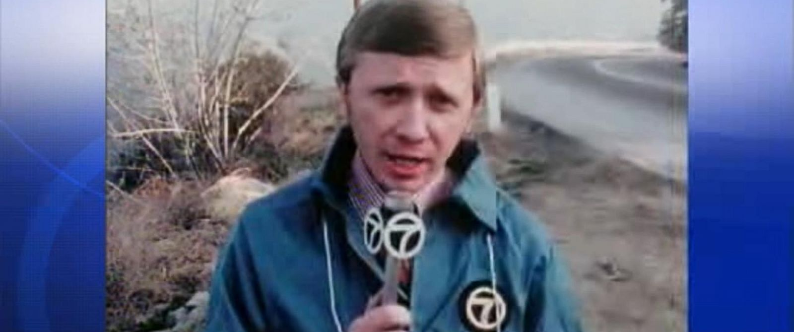 PHOTO: KABC News reporter Al Wiman reports from the site where a TV news crew found clothing introduced as evidence at trial for the Sharon Tate murders.