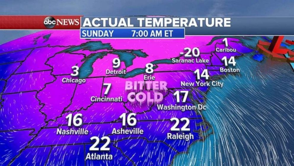 After a warm start to the weekend, temperatures will plummet for Sunday.