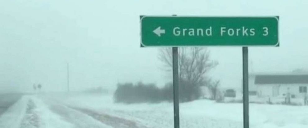 There was a blizzard warning for Grand Forks, N.D., on Thursday after the area received snow on Wednesday as well.
