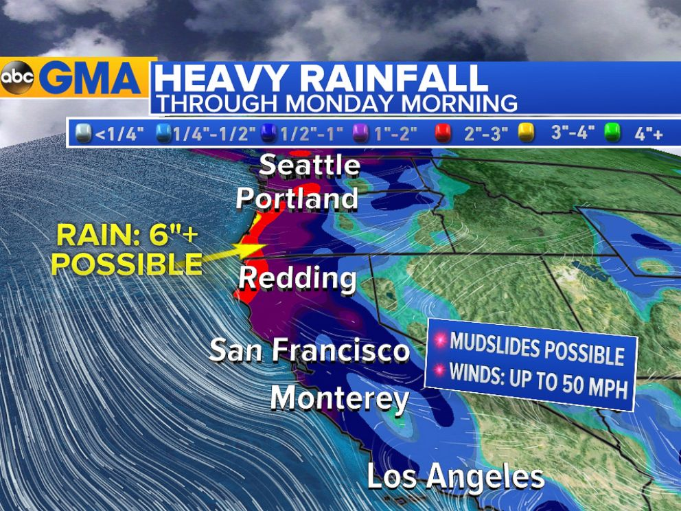 Storms To Bring Heavy Rain Snow Wind To Western US Over - Us map rainfall