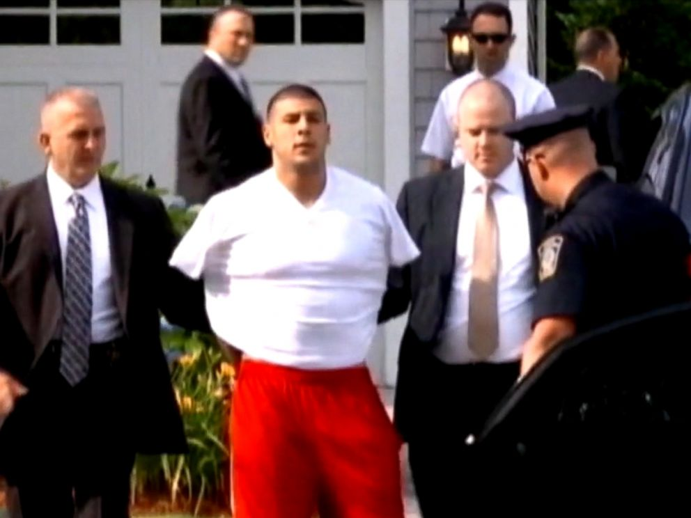 PHOTO: Former New England Patriots player Aaron Hernandez was arrested at his home on June 26, 2013, and was charged with the death of his friend Odin Lloyd later that day.