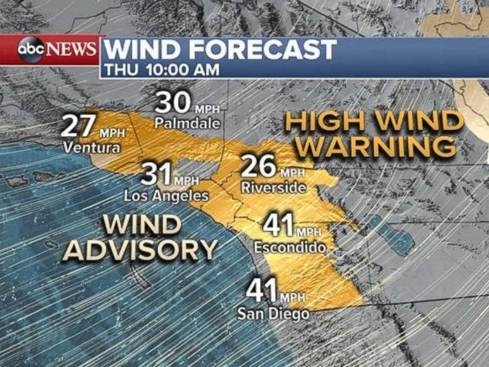 Sustained winds in Southern California were expected to be from the mid-20s up to the 40-mph range, with gusts of 60 mph or more Thursday, Dec. 7, 2017.