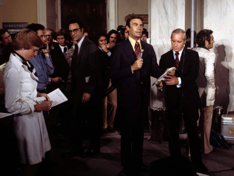 PHOTO: Sam Donaldson and Frank Reynolds report from the House Judiciary Committee Impeachment of Richard M. Nixon.