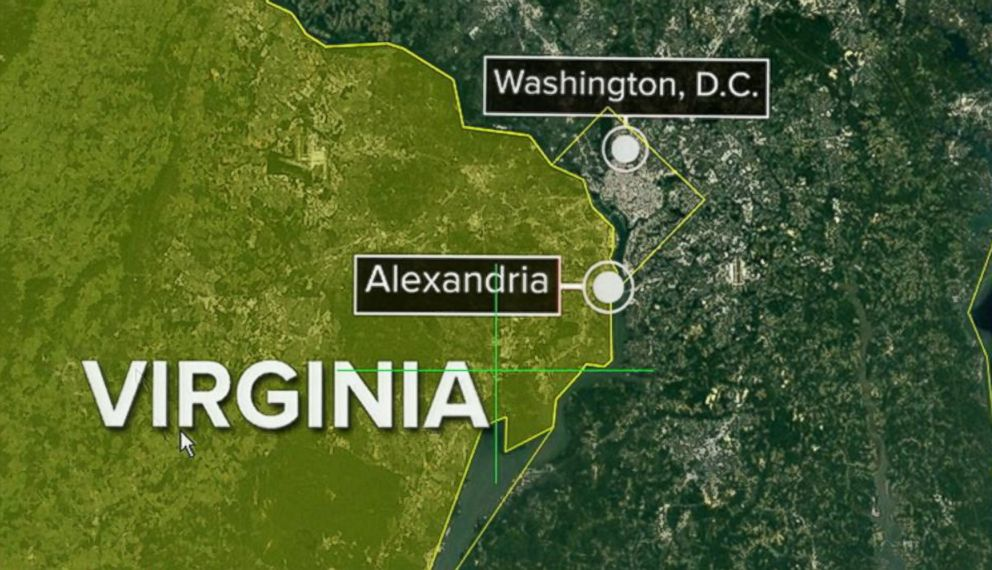 PHOTO: Map showing location of Alexandria, Virginia and Washington, D.C. where shots were fired near where congressmen were gathered, June 14, 2017.