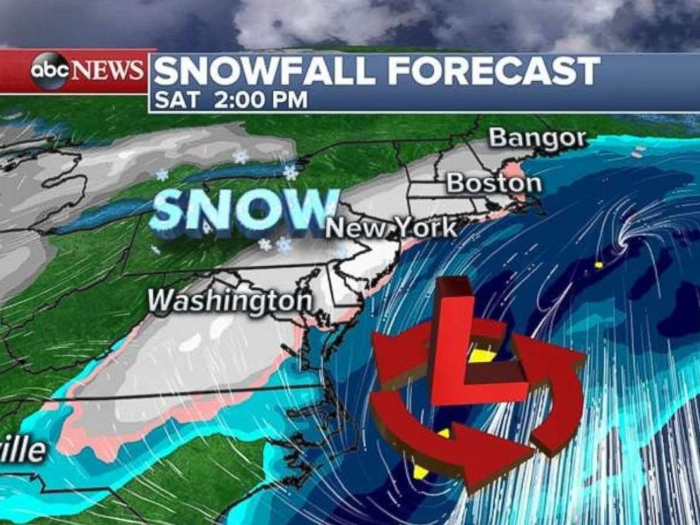 Snow will move into the Northeast during the afternoon on Saturday.