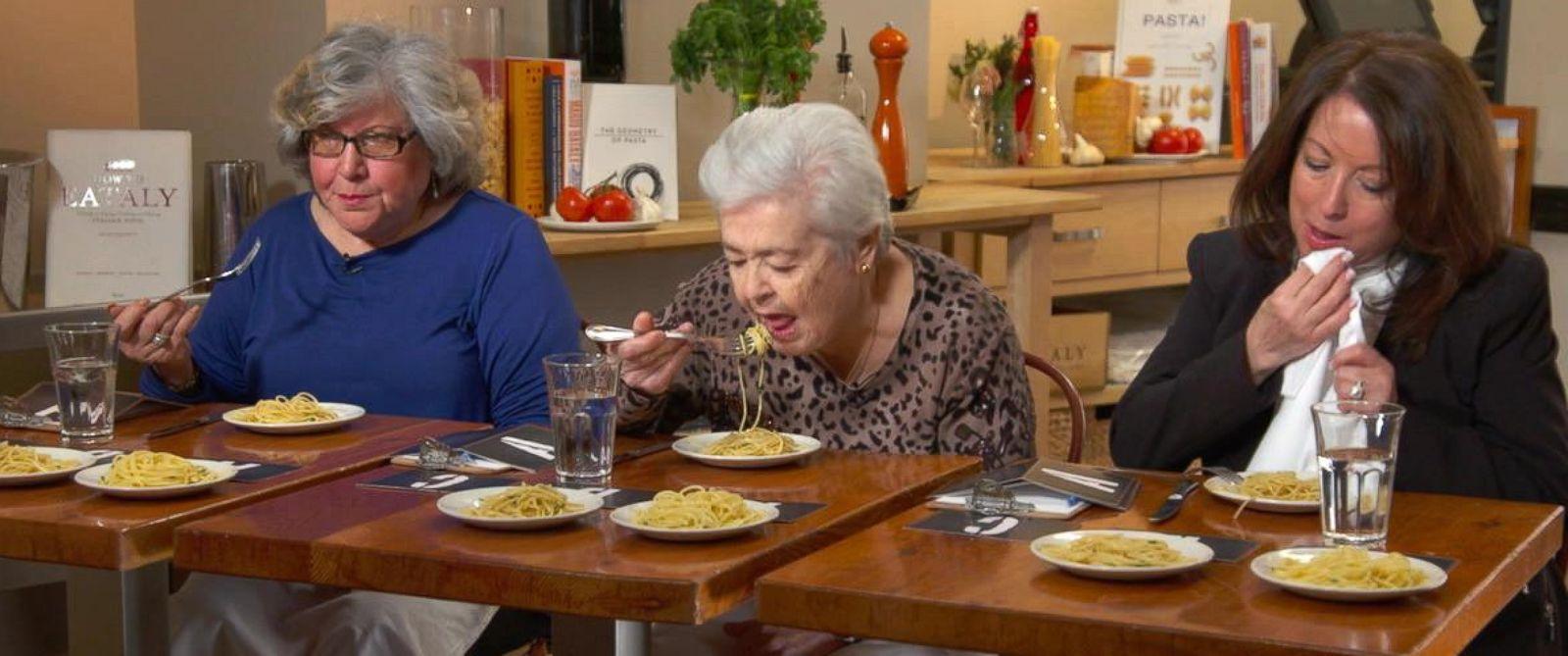 "PHOTO: ""GMA"" recruited Italian grandmothers to taste test three pastas at three different price points."