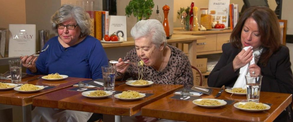 "PHOTO: ""GMA"" recruited Italian grandmothers to taste test three pastas at three different price points."