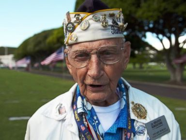 PHOTO: Pearl Harbor survivor Stuart Hedley was a 20-year-old seaman, first class, assigned to the third division when the Japanese attacked on Dec. 7, 1941. He returned to Hawaii with other WWII survivors to mark the 75th anniversary of the attack.