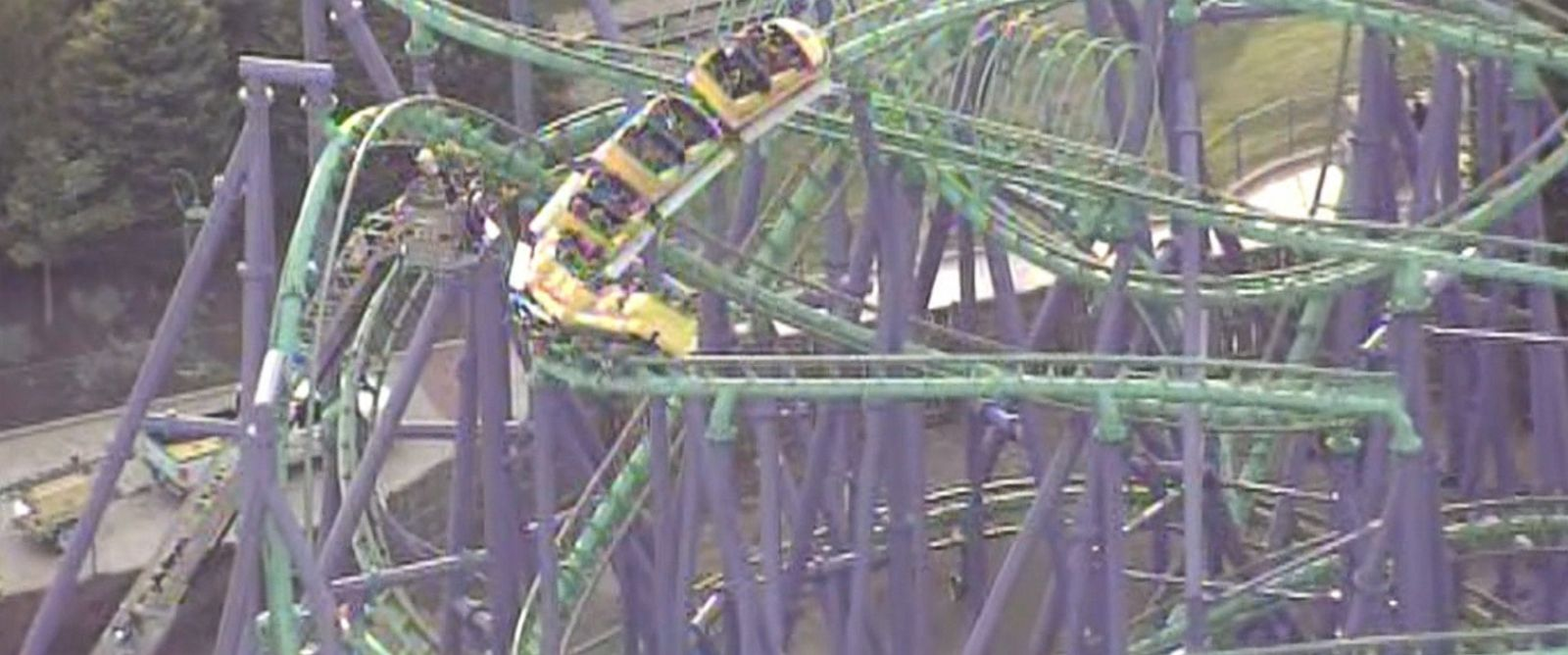 PHOTO: First responders rescued 24 people stuck on the the Jokers Jinx roller coaster at Six Flags America in Bowie, Maryland.