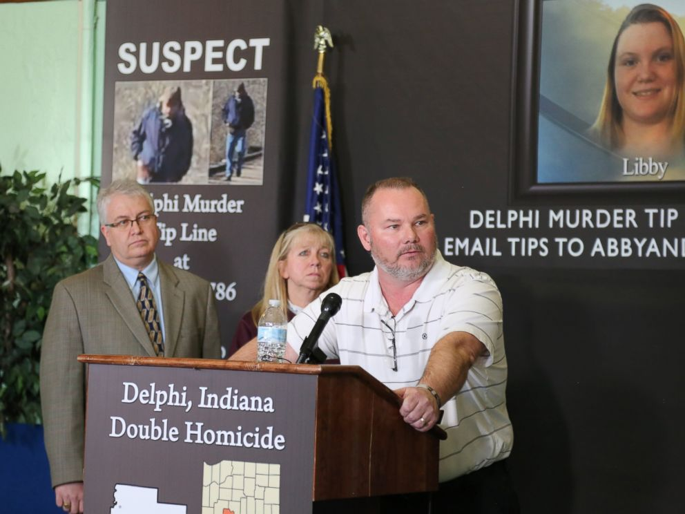 PHOTO: Mike Patty, grandfather of slain teenager Libby German, speaks to reporters in Delphi, Ind., March 9, 2017.