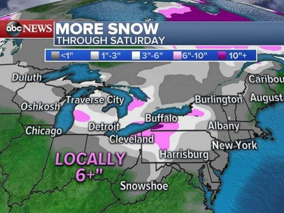Snow totals of over 6 inches are possible in western New York through Saturday.