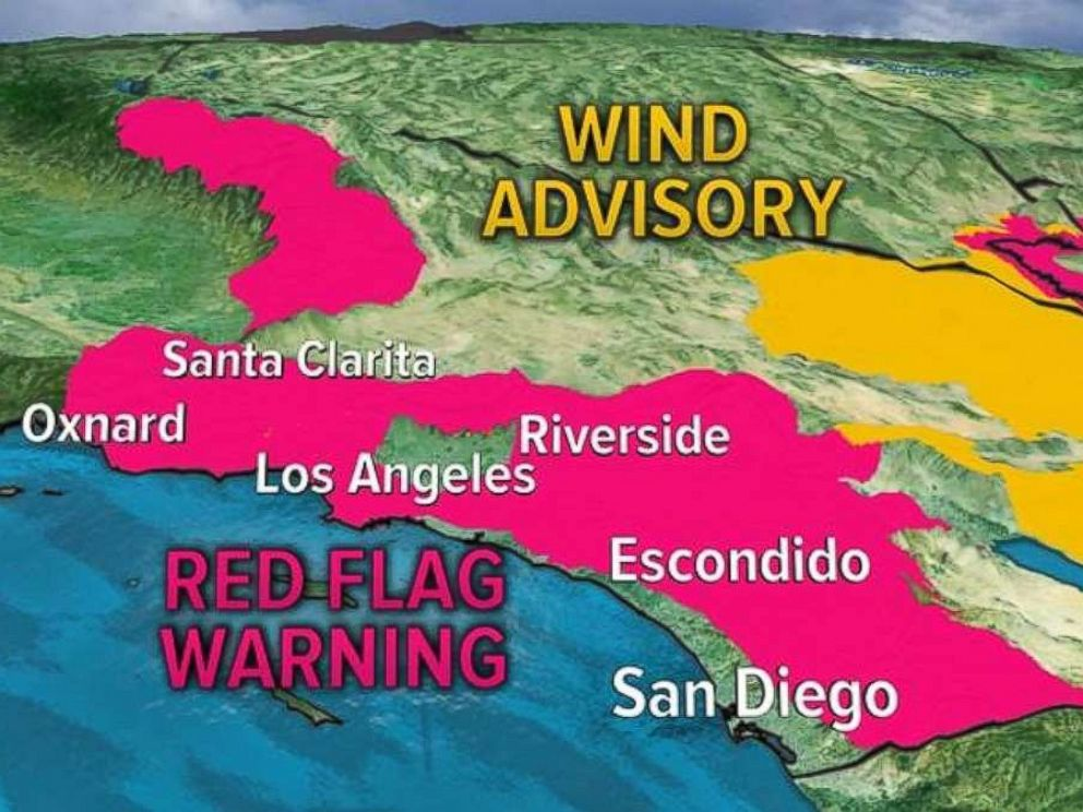 Wind advisories and red flag warnings will continue through Saturday in Southern California.