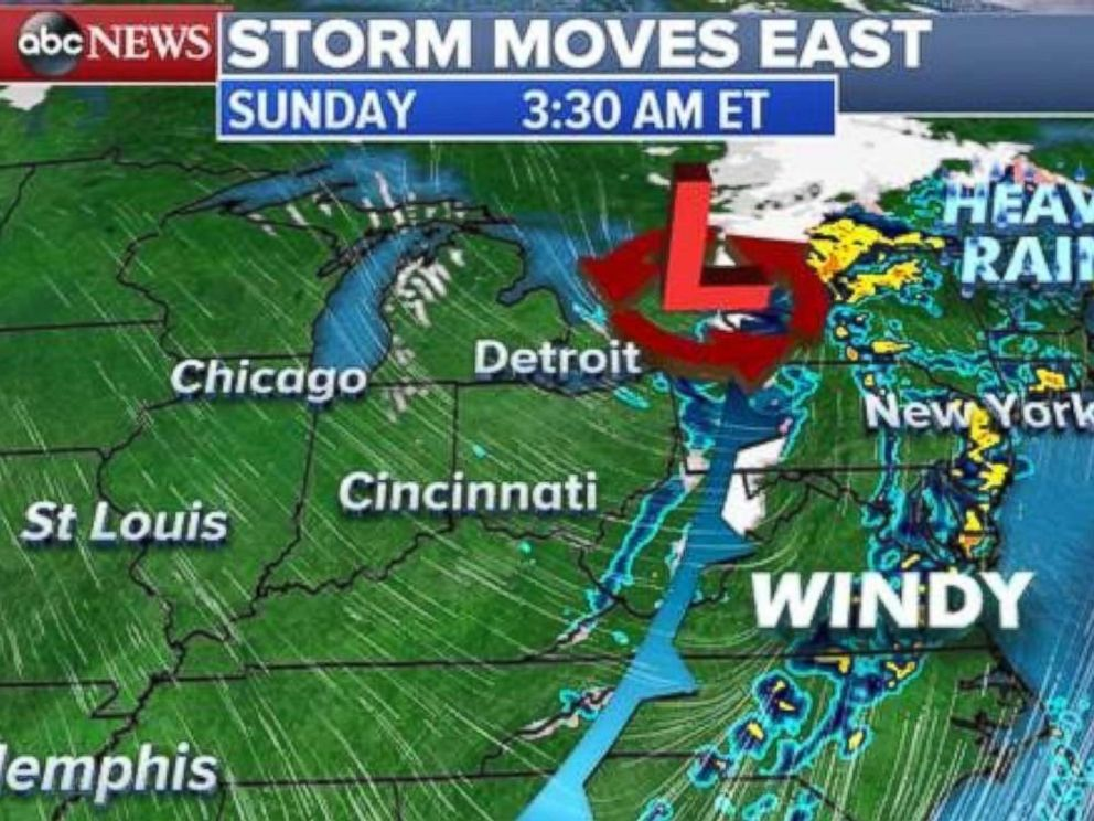 The storm will threaten the East Coast early on Sunday, Nov. 19, 2017.