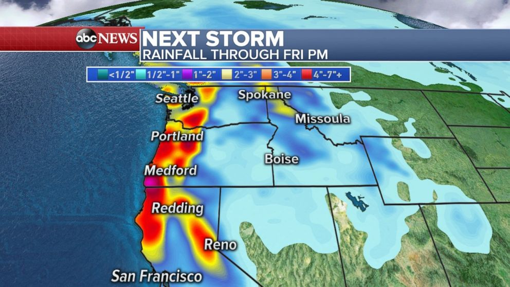 Rainfall totals through Friday could be as much as half a foot along the California, Oregon and Washington coasts.