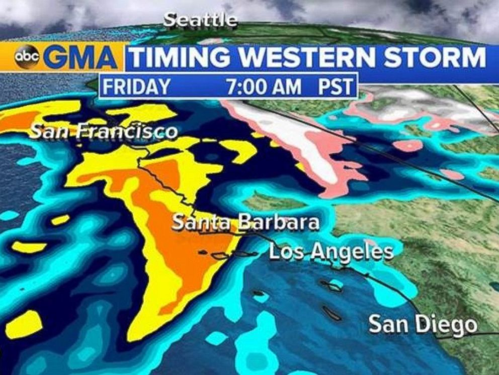 PHOTO: Heavy rain will move into Southern California by 7 a.m. PT Friday.