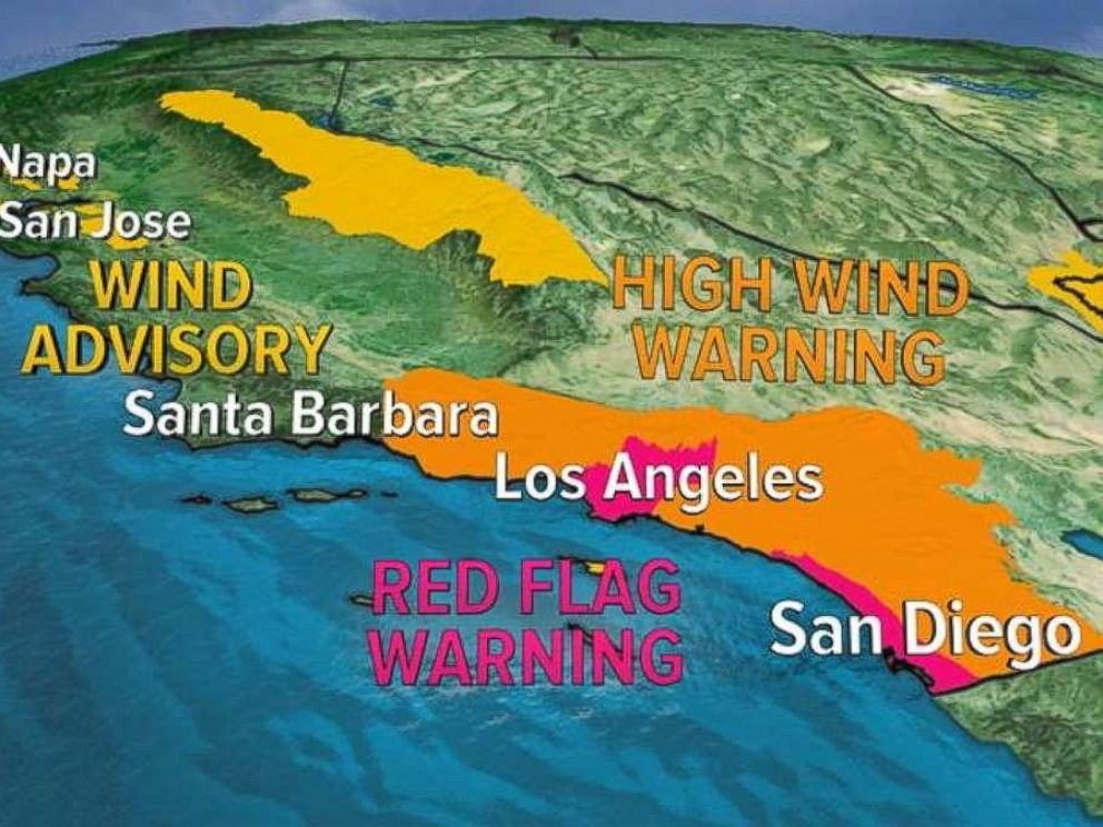 Wind and fire warnings are in effect for much of California on Tuesday.
