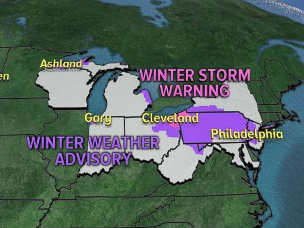 Winter storm warnings and winter weather advisories are in place Thursday morning in the Northeast.