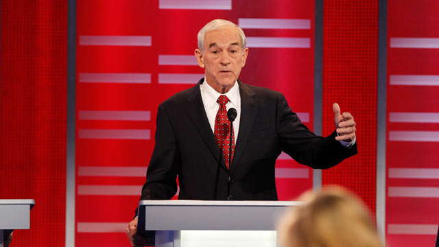 PHOTO: Ron Paul gestures during the Republican Presidential debate in Des Moines, Iowa, December 10, 2011.