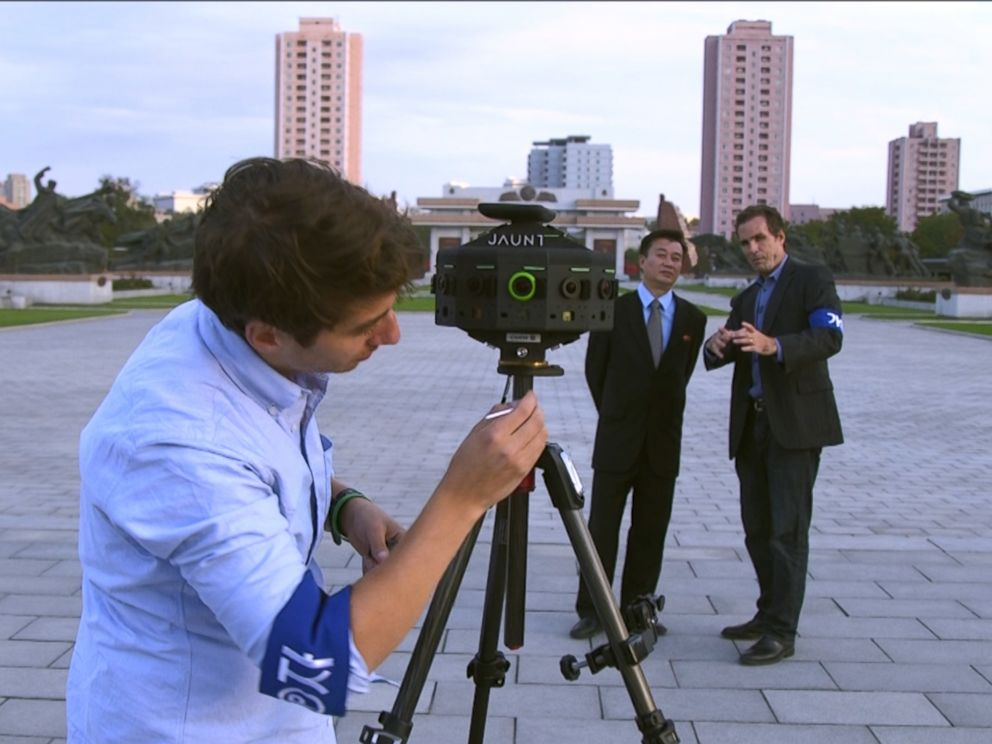 PHOTO: ABCs Bob Woodruff and Ronnie Polidoro prepare Jaunts 360 degree camera in Pyongyang, North Korea.