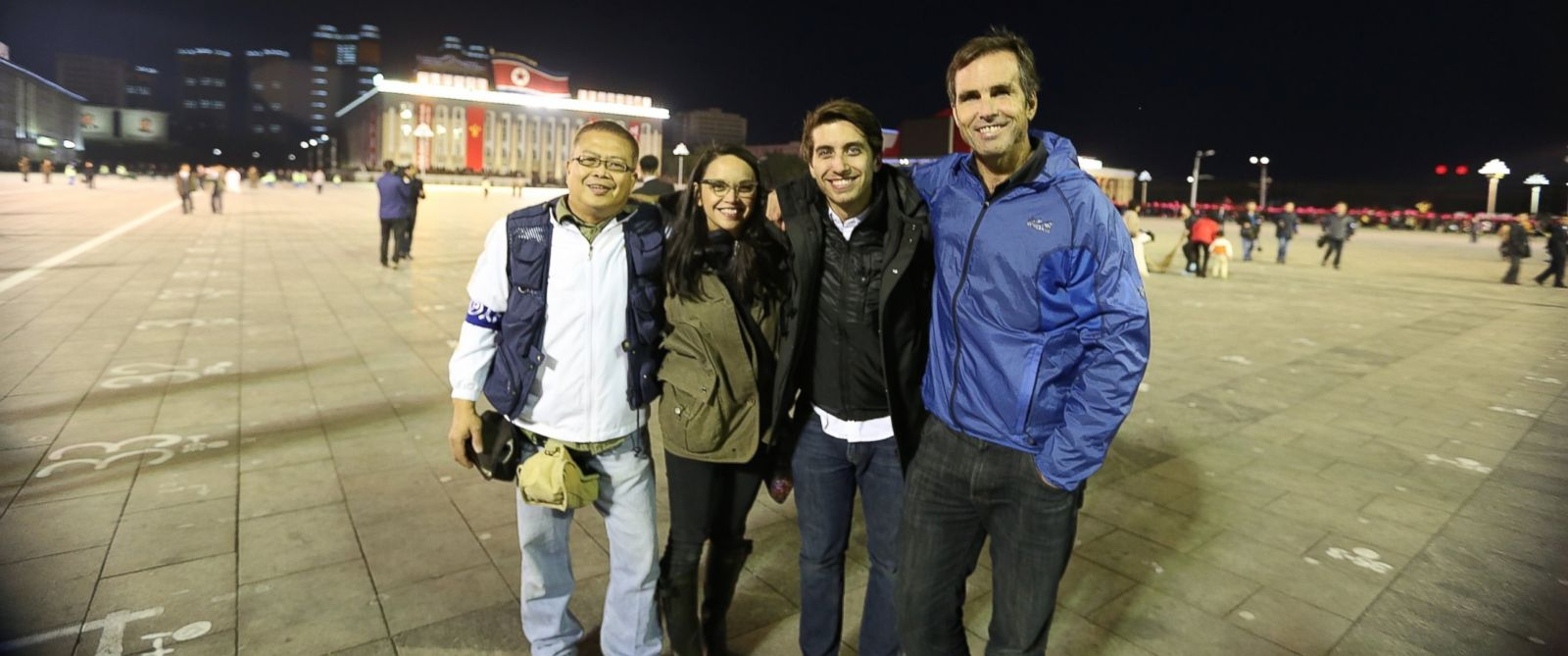 PHOTO: From left to right: ABC News Gamay Palacios, Margaret Dawson, Ronnie Polidoro and Bob Woodruff in Kim il-Sung Square, North Korea.
