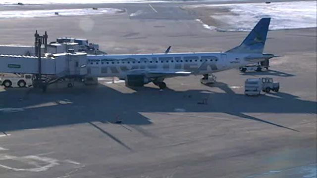 PHOTO: A Frontier Airlines flight from Omaha to Milwaukee was delayed Thursday morning after the pilot, suspected of being drunk, was kept from getting on the plane, according to police at Eppley Airfield, Feb. 16, 2012.