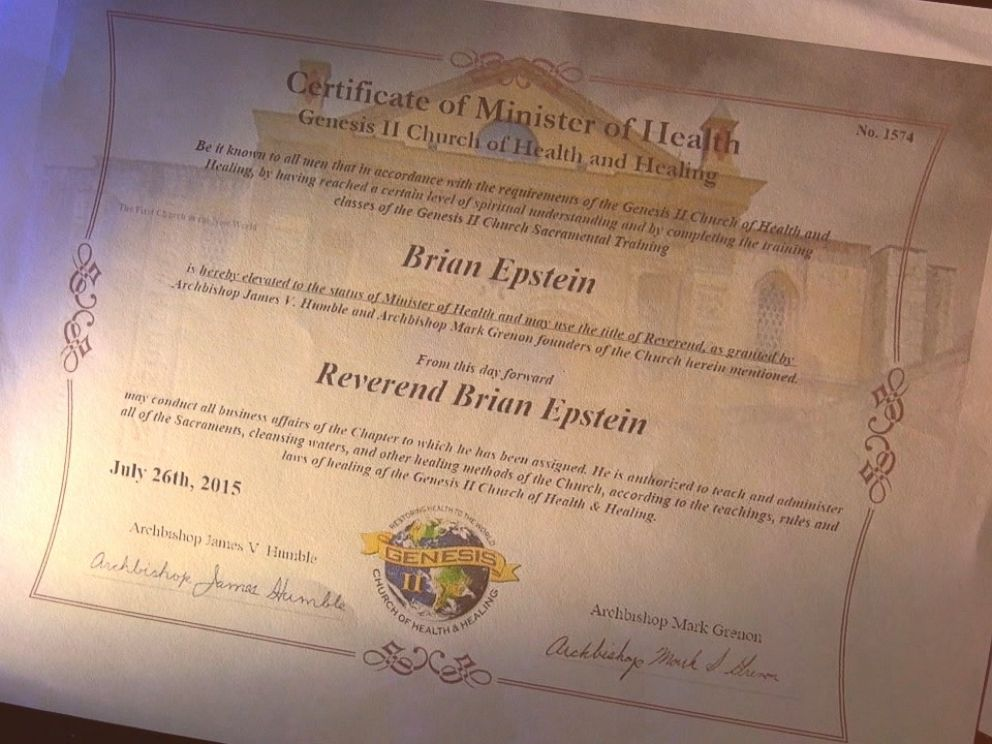 PHOTO: An ABC News producer received this certificate from the Genesis II Church after being ordained as a health minister.