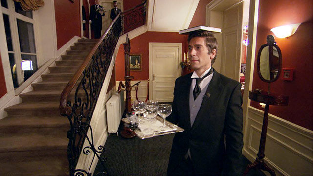 PHOTO: David Muir participates in a butler training drill at International Butler Academy, in Valkenburg, Netherlands.