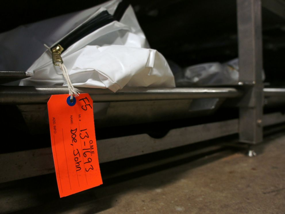 PHOTO: Body bags containing the remains of unnamed migrants at the Pima County morgue in Tucson, Ariz.