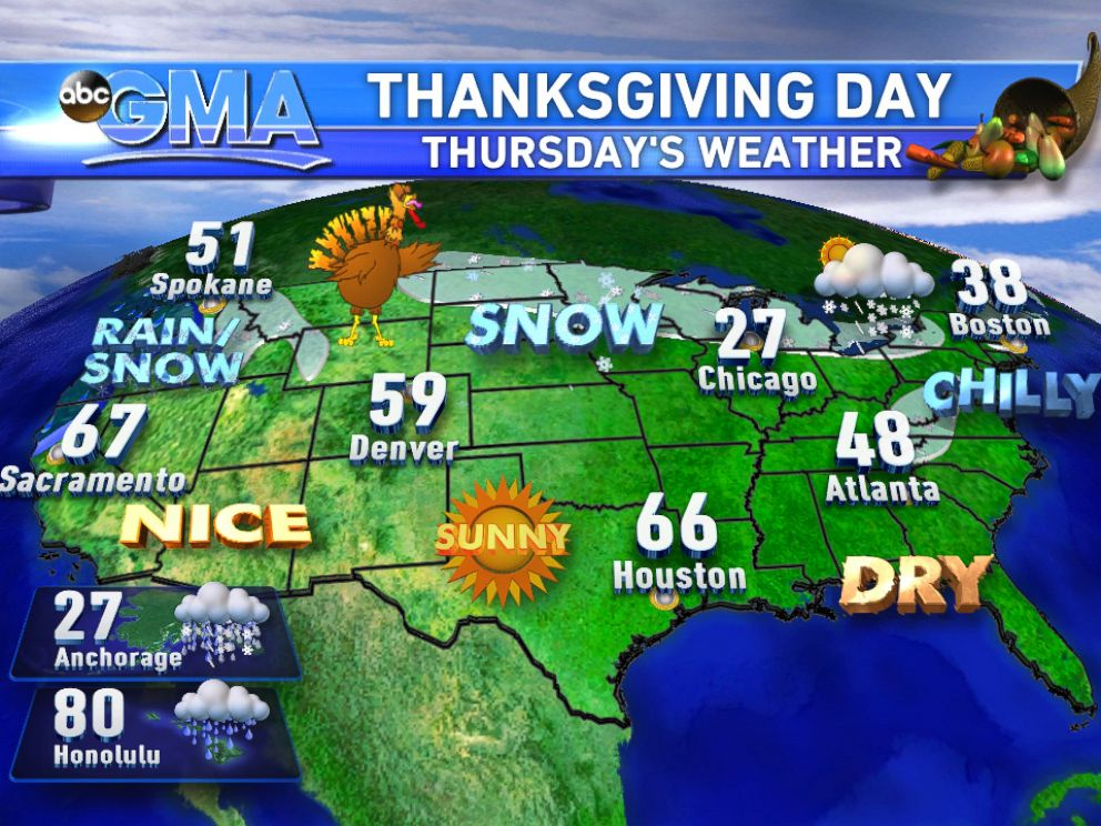 PHOTO: Weather forecast for Thanksgiving Day.