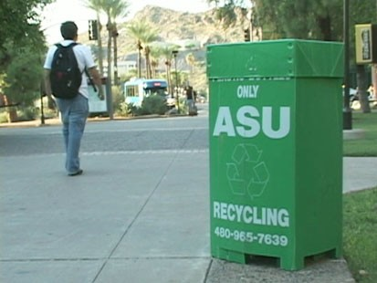 Picture of a recycling bin at ASU.