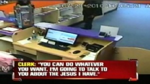 VIDEO: A store clerks mention of her religion leads to a robbers change of heart.