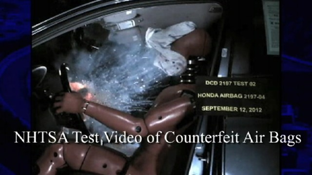 VIDEO: Knock-offs fail in National Highway Traffic Safety Administration crash tests.