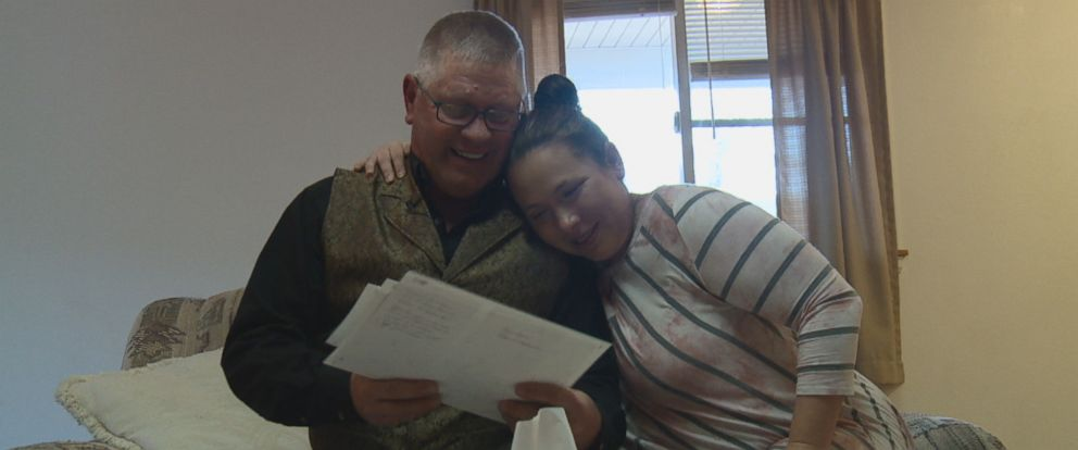 """Amanda Holdiness meets her biological father Larry Herdt for the first time during an interview with ABC News """"Nightline."""""""