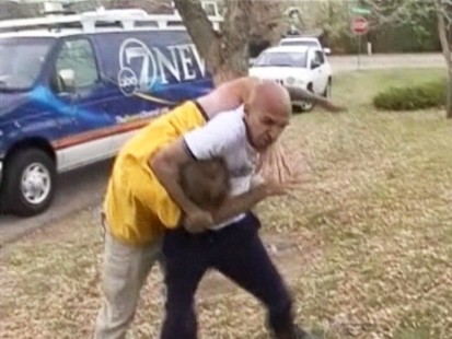 VIDEO: An angry man confronts TV news crew covering the Heene family.