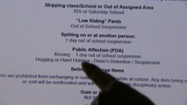 VIDEO: Orlando, Fla., middle school has a rule against public displays of affection.