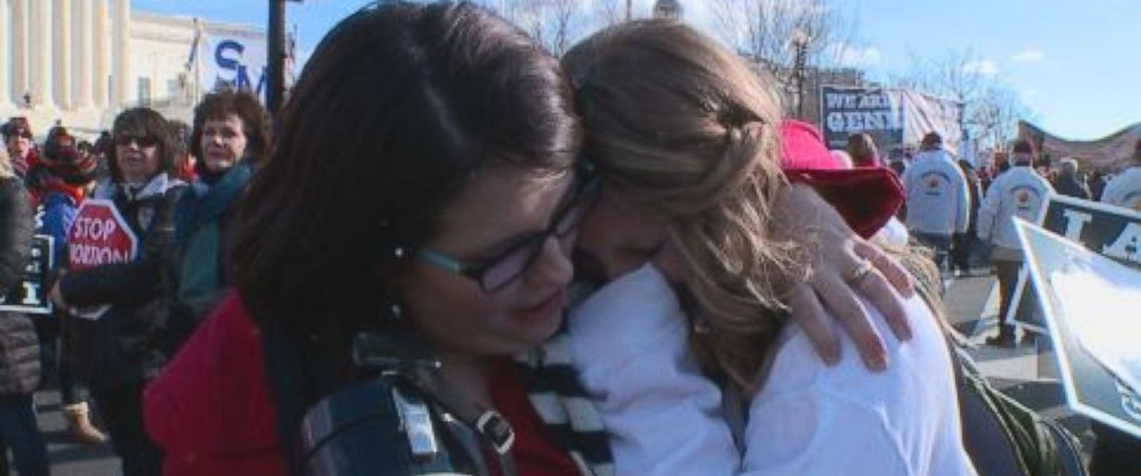 Kristan Hawkins is shown here hugging Devin Veers at a March For Life event in Washington, D.C.