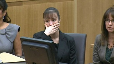 Jodi Arias reacts a the judge declared a mistrial in the sentencing phase of her murder trial, May 23, 2013.