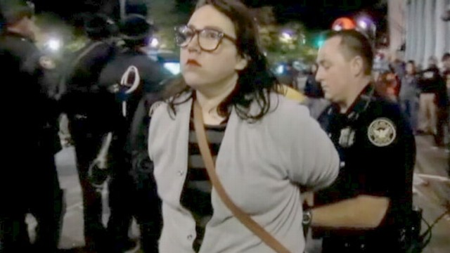 VIDEO: Police arrested 20 demonstrators overnight, but released 19 of them hours later.