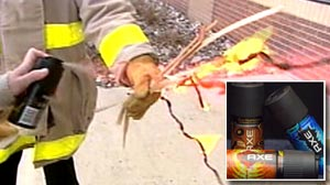 Photo: kids using AXE deodorant to build flame throwers