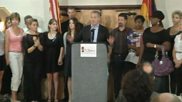 PHOTO: The families of the Colorado movie theater shooting gathered at the Summit Conference and Event Center in Aurora, Colo. on Aug. 28, 2012 for a press conference.