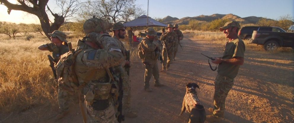 Tim Foley (right) and his group of volunteers say they are patrolling Arizonas border to face off against illegal drug cartels from Mexico.