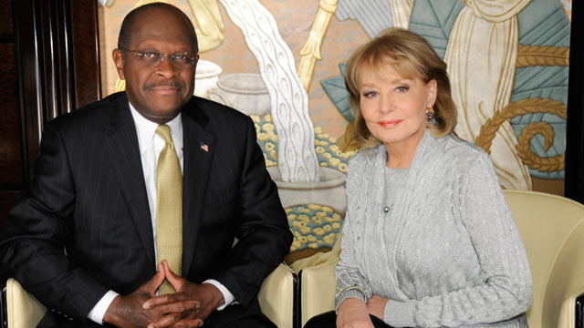 "PHOTO: Barbara Walters interviews Herman Cain for ""Barbara Walters Presents: The 10 Most Fascinating People of the Year,"""