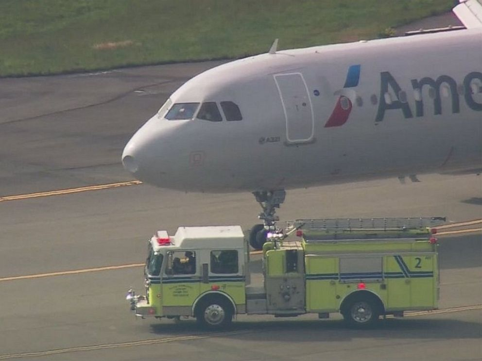 PHOTO: This American Airlines aircraft, pictured at Seattle-Tacoma International Airport, returned to the airport after suffering damage on its nose from a bird strike on April 27, 2016.