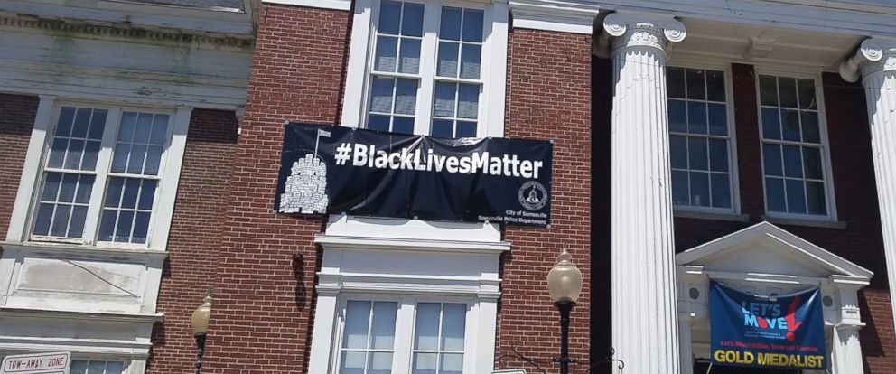 PHOTO: A Black Lives Matter banner affixed to the front of Somervilles City Hall building has caused controversy in this blue collar suburb of Boston after a local police union president asked that it be replaced.