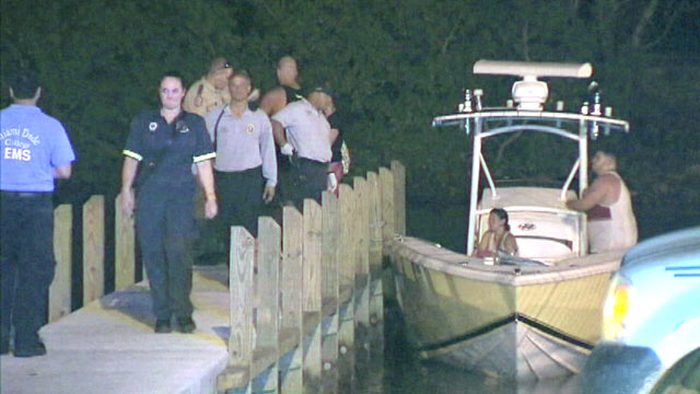 PHOTO: Multiple people were injured when two boats collided in Elliott Key, Fla. on June 9, 2013.