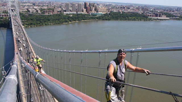 PHOTO: ABC's Bob Woodruff was given a rare glimpse into life atop the George Washington Bridge in New York City. In order to get the job of painting the busiest bridge in the world, potential painters have to ace a series of tests.